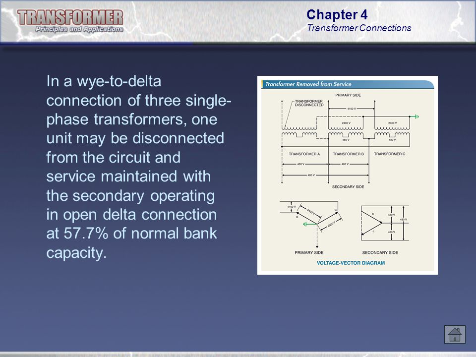chapter 4 transformer connections ppt video online download Delta Transformers Diagrams in a wye to delta connection of three single phase transformers, one delta transformers diagrams