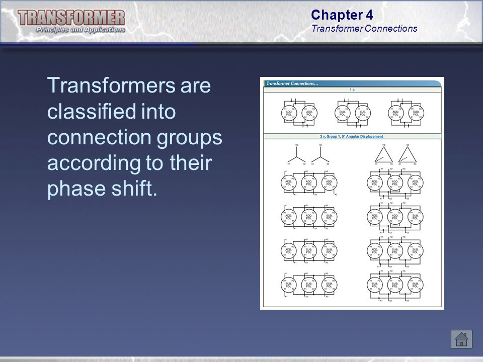 Transformers are classified into connection groups according to their phase shift.