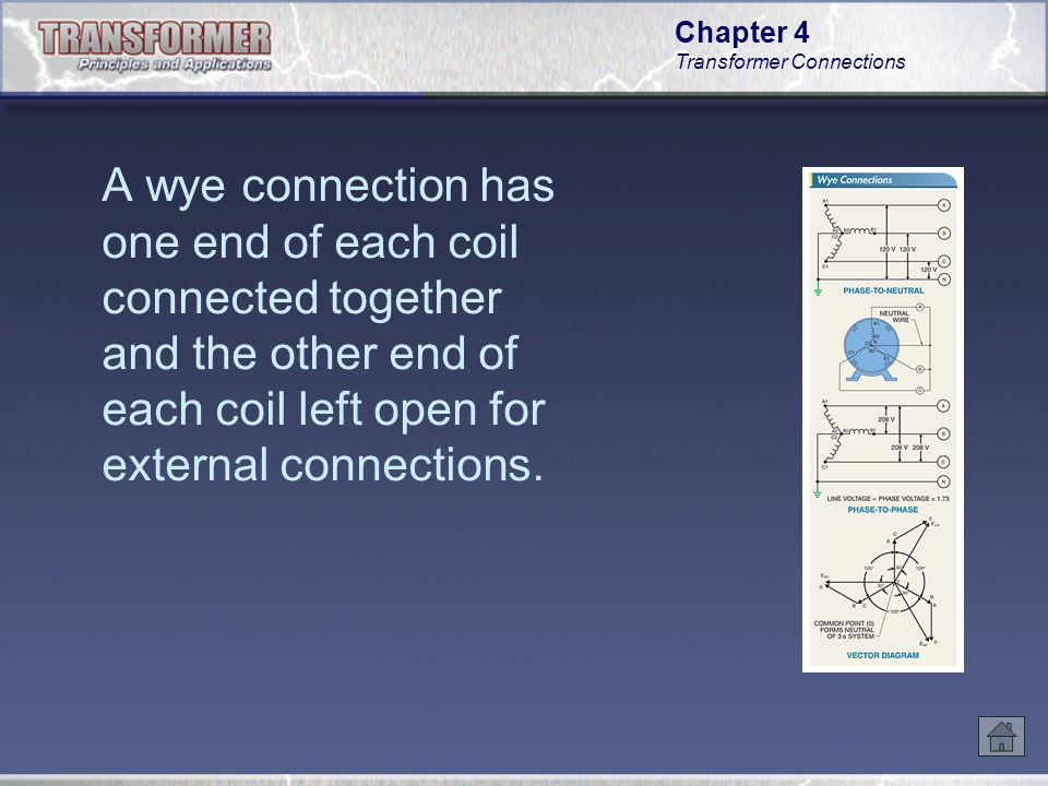 A wye connection has one end of each coil connected together and the other end of each coil left open for external connections.