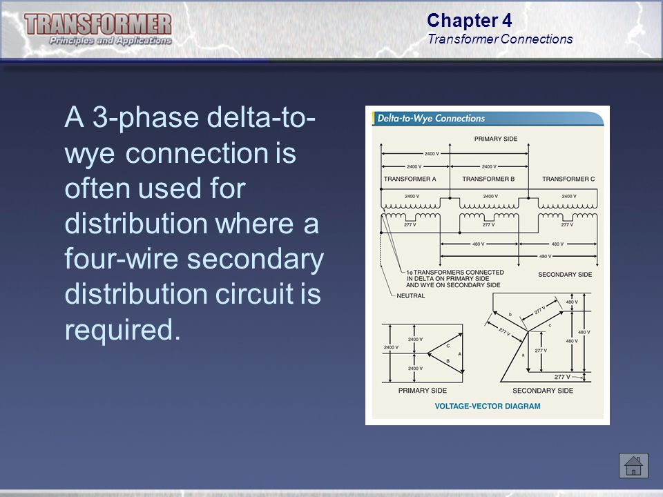 A 3-phase delta-to-wye connection is often used for distribution where a four-wire secondary distribution circuit is required.