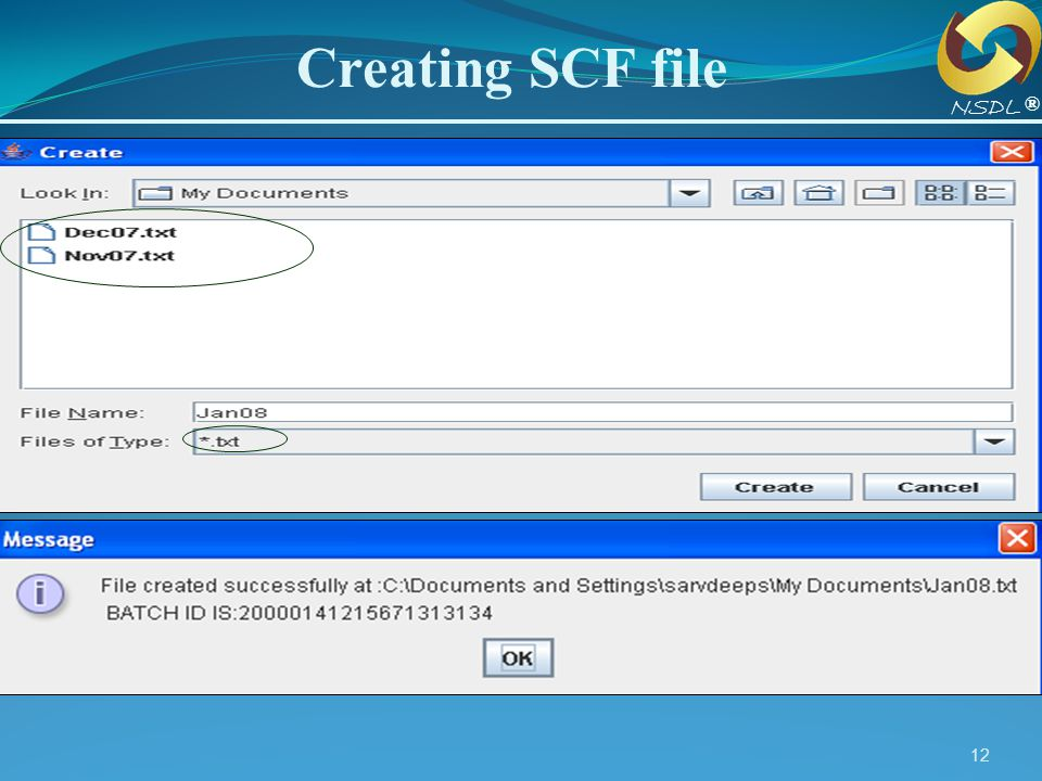 Creating SCF file NSDL ®