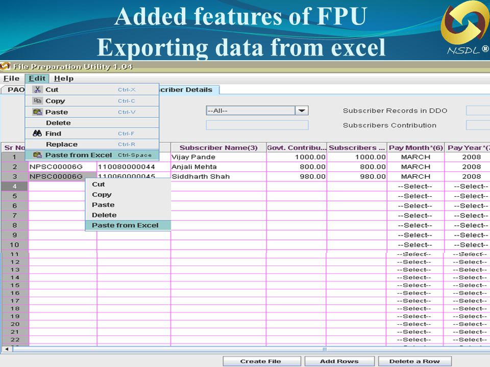 Added features of FPU Exporting data from excel