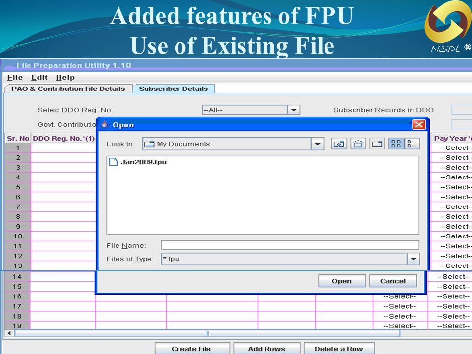 Added features of FPU Use of Existing File
