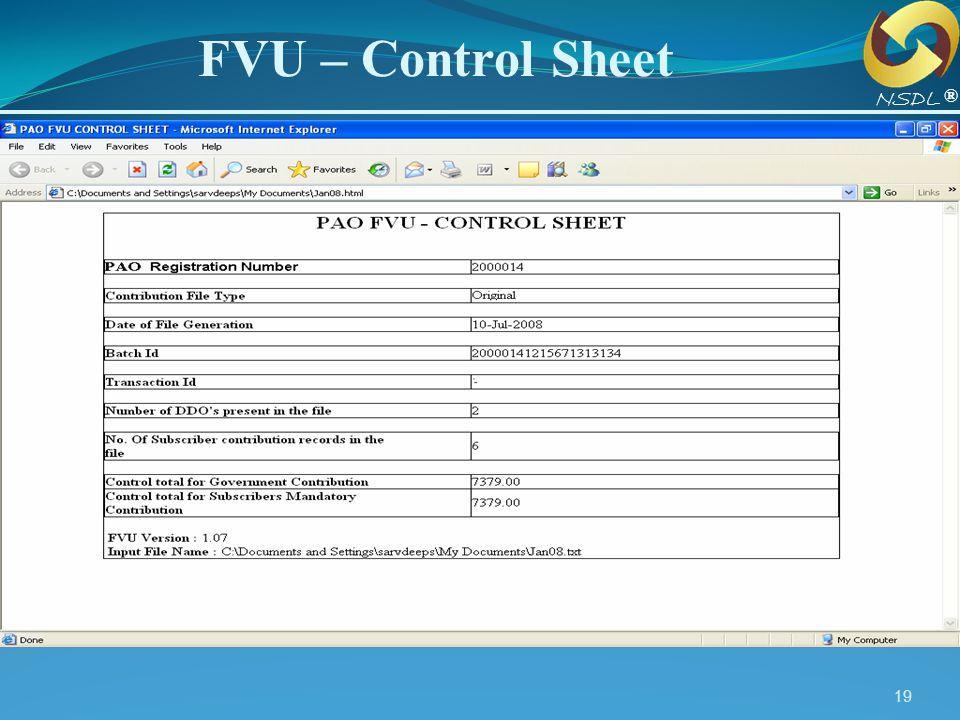 FVU – Control Sheet NSDL ®