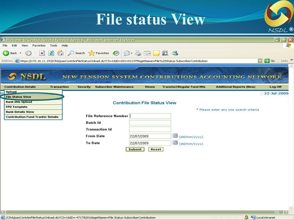 File status View NSDL. ®