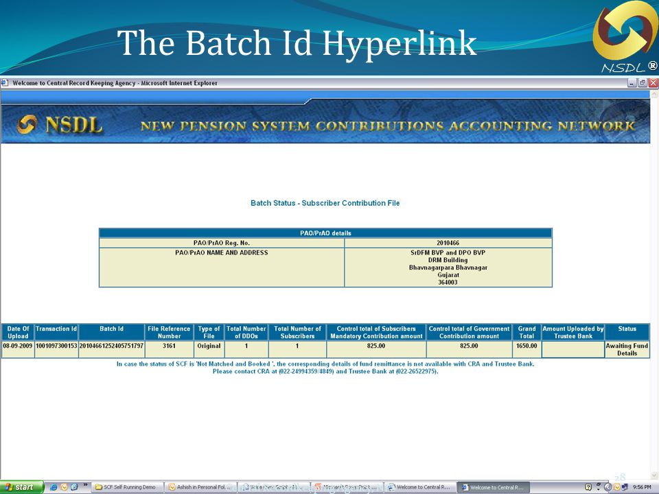 The Batch Id Hyperlink NSDL ® Workshop for ICAR 28