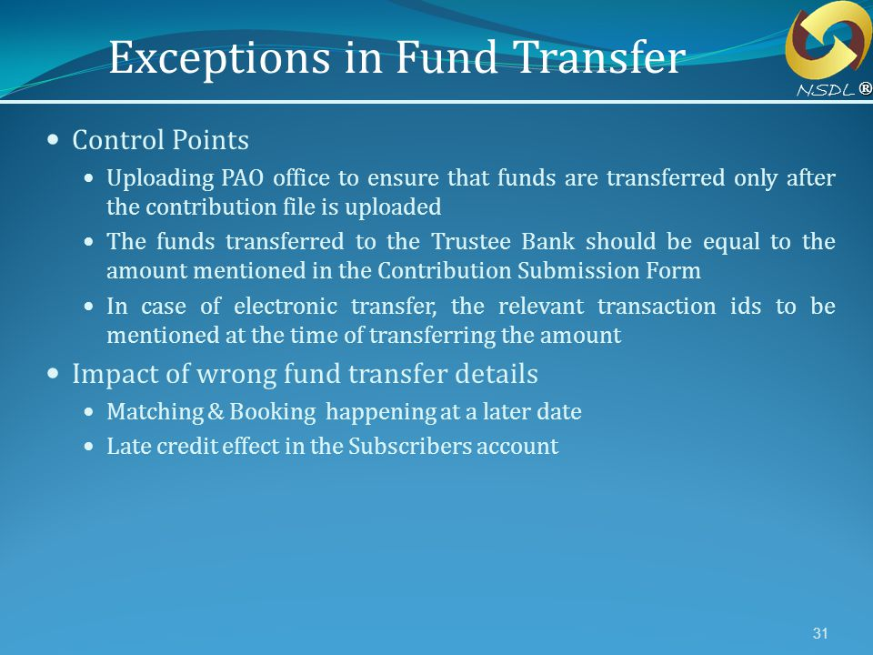 Exceptions in Fund Transfer