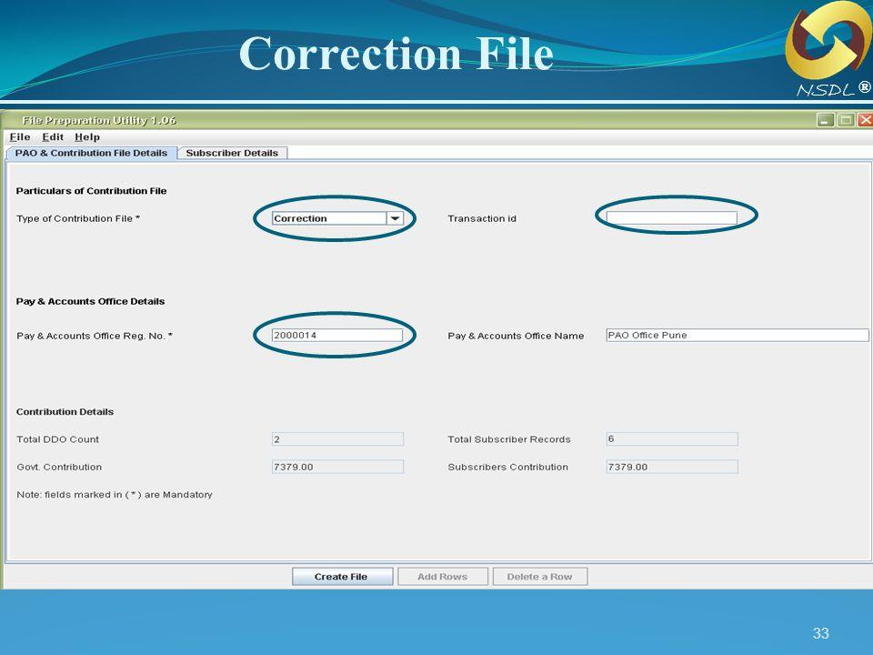 Correction File NSDL. ®