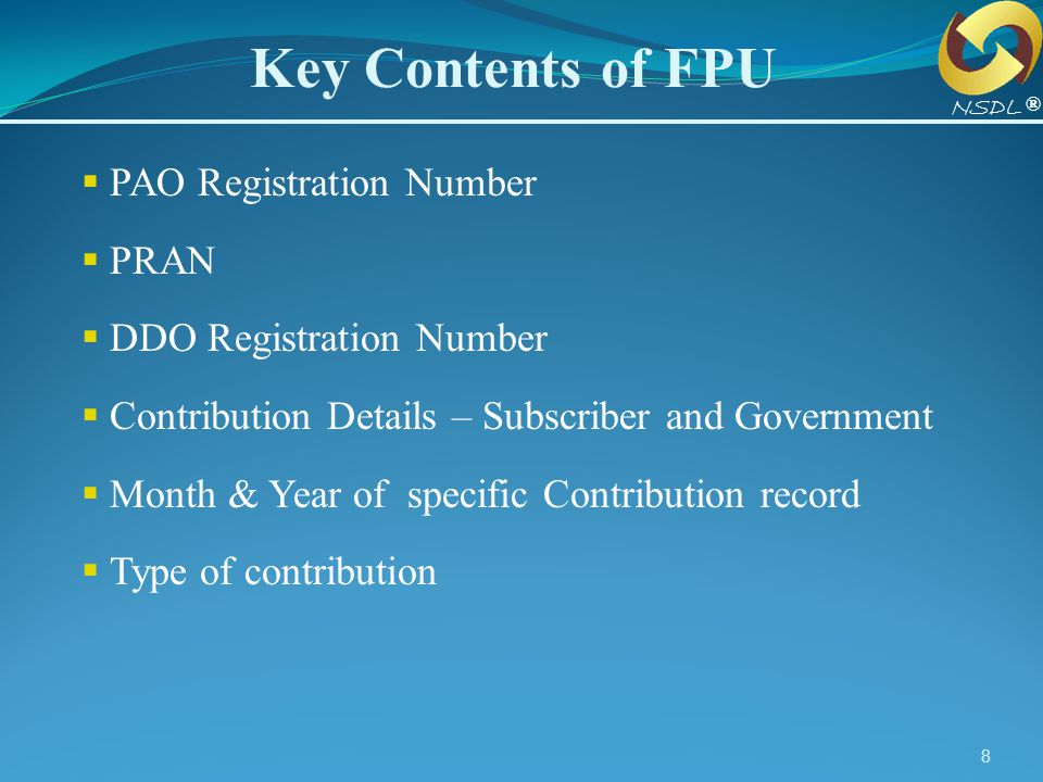 Key Contents of FPU PAO Registration Number PRAN
