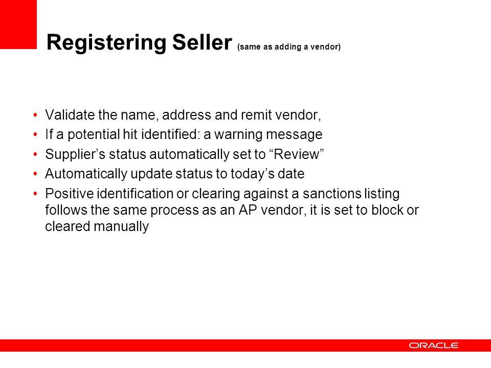 Registering Seller (same as adding a vendor)
