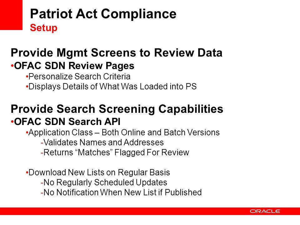 Patriot Act Compliance Setup