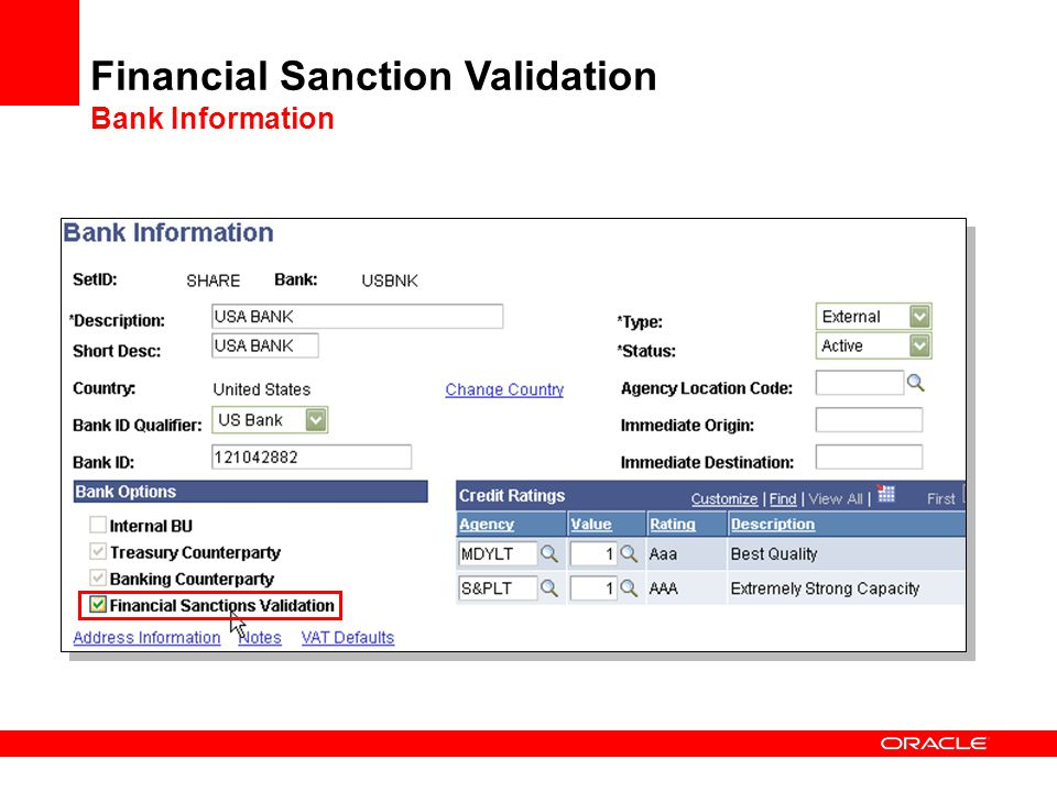 Financial Sanction Validation Bank Information