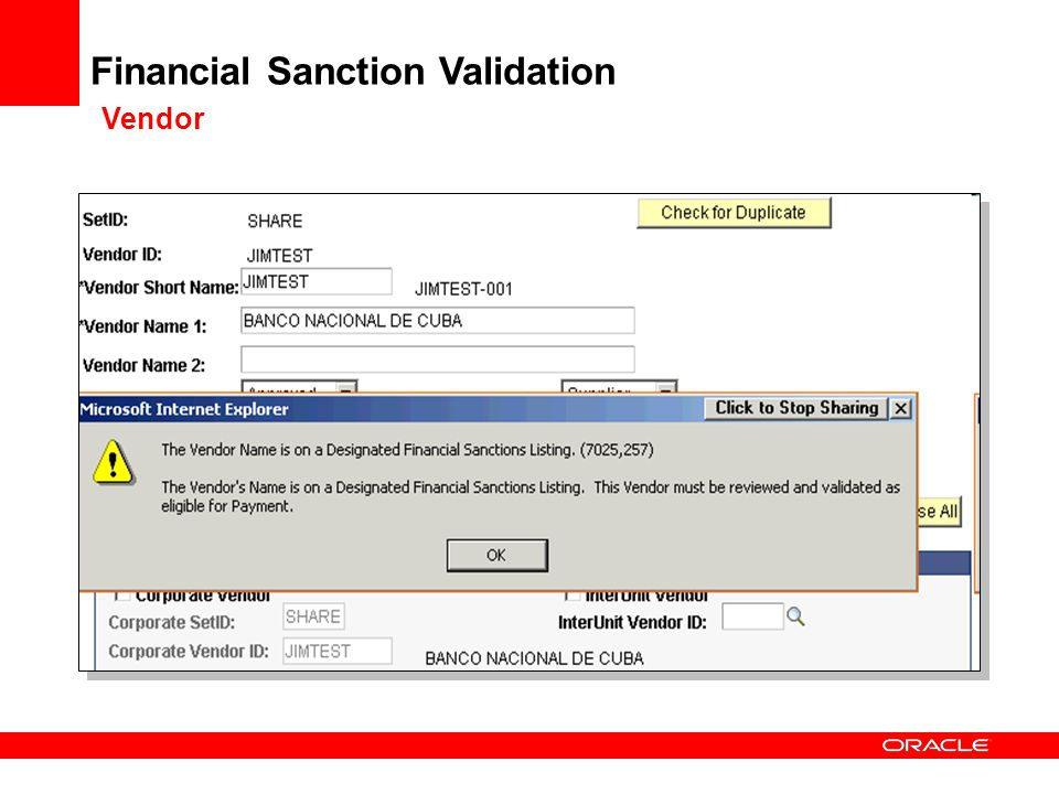 Financial Sanction Validation Vendor