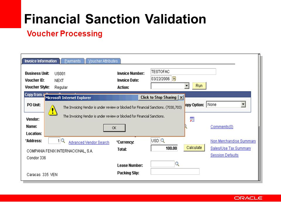 Financial Sanction Validation Voucher Processing