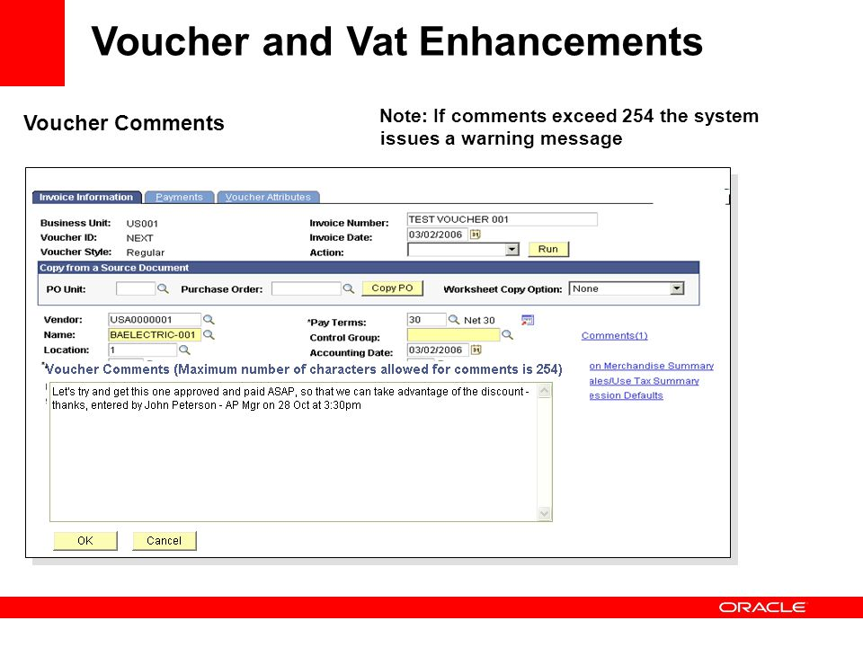 Voucher and Vat Enhancements