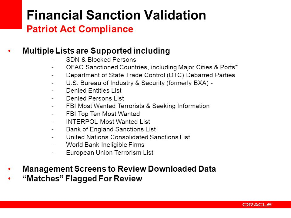 Financial Sanction Validation Patriot Act Compliance
