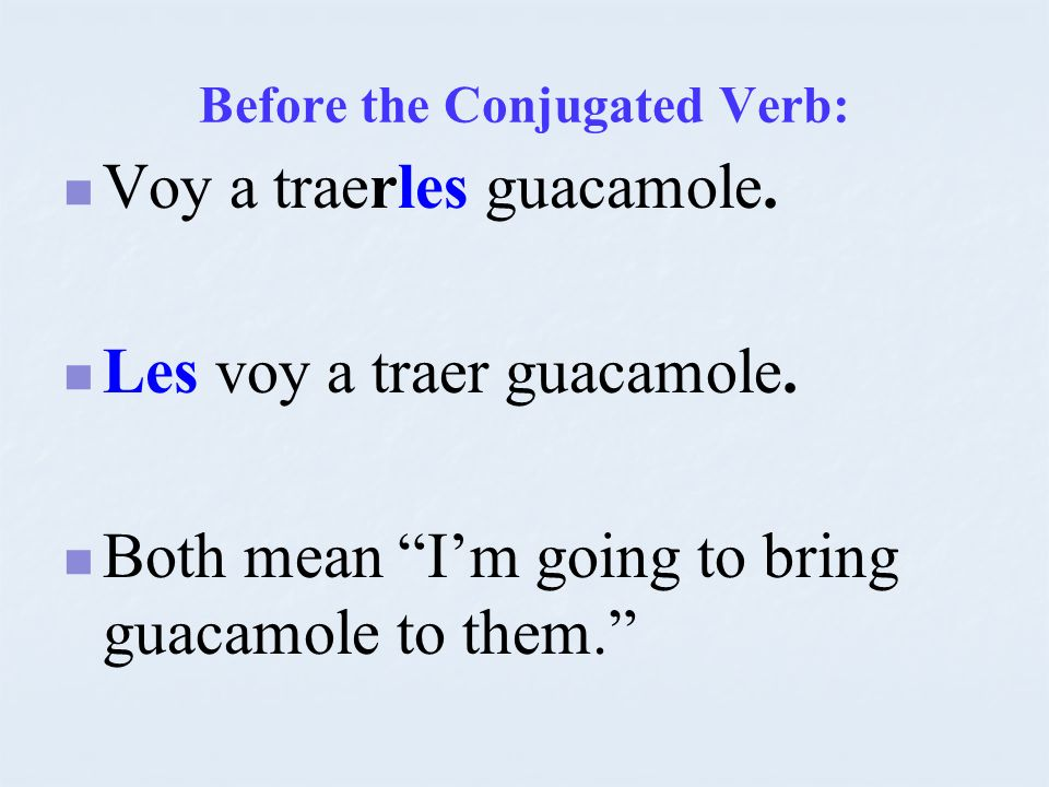 Before the Conjugated Verb:
