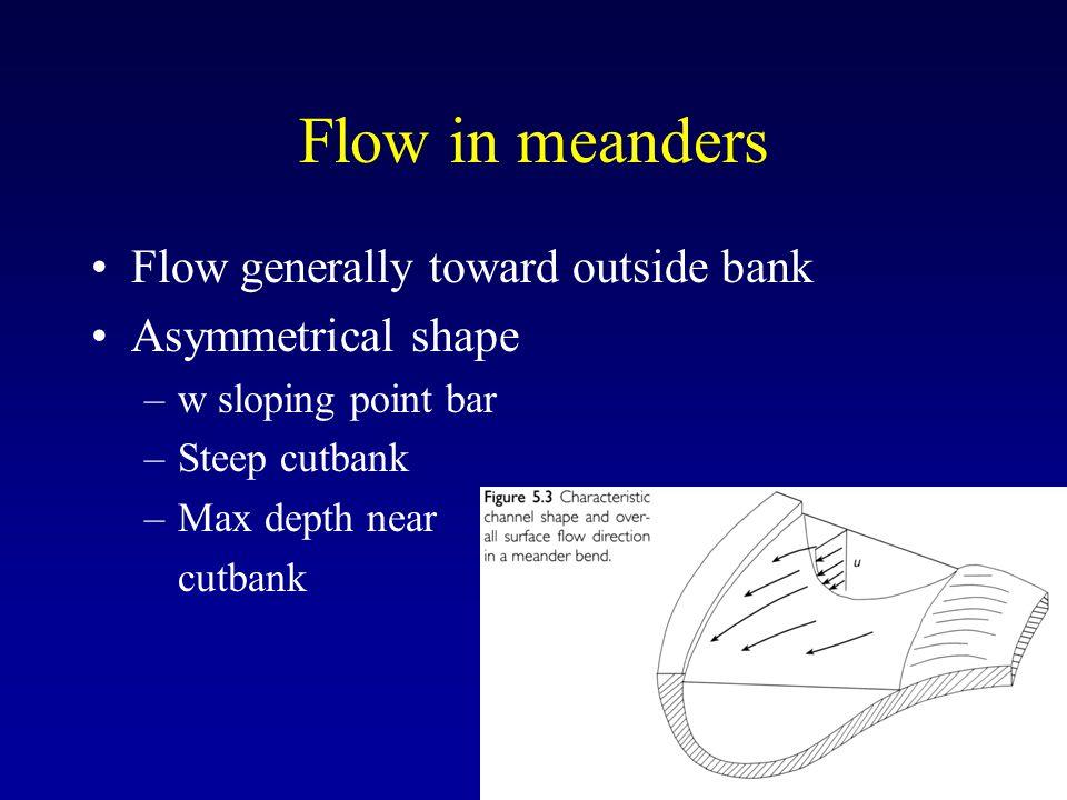 Flow in meanders Flow generally toward outside bank Asymmetrical shape