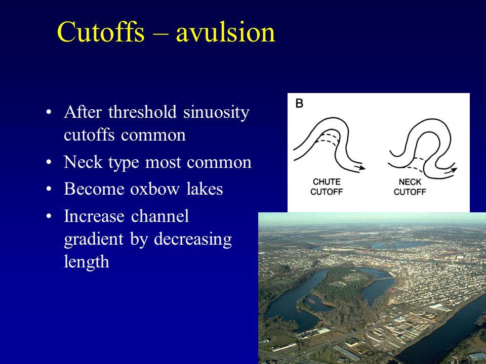 Cutoffs – avulsion After threshold sinuosity cutoffs common