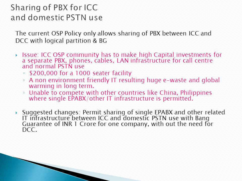 Sharing of PBX for ICC and domestic PSTN use