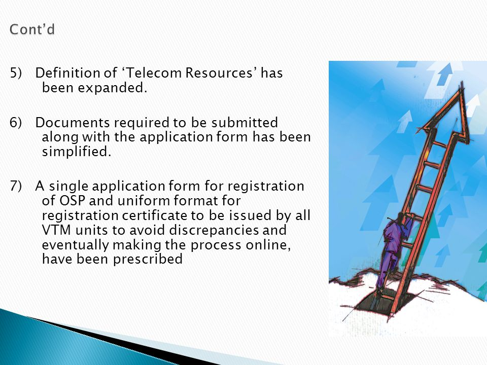 Cont'd 5) Definition of 'Telecom Resources' has been expanded.