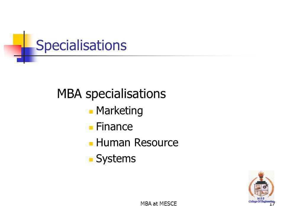 Specialisations MBA specialisations Marketing Finance Human Resource