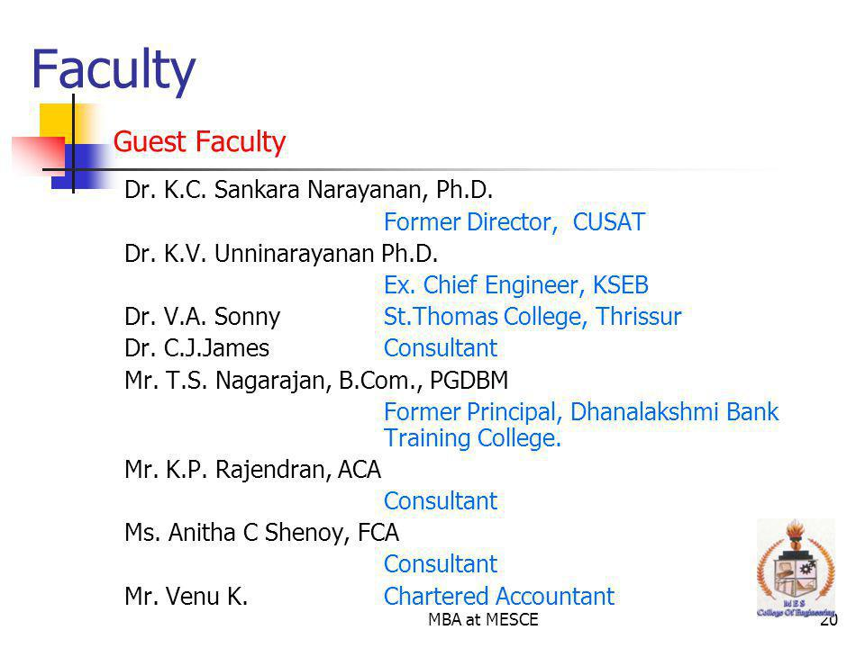 Faculty Guest Faculty Dr. K.C. Sankara Narayanan, Ph.D.