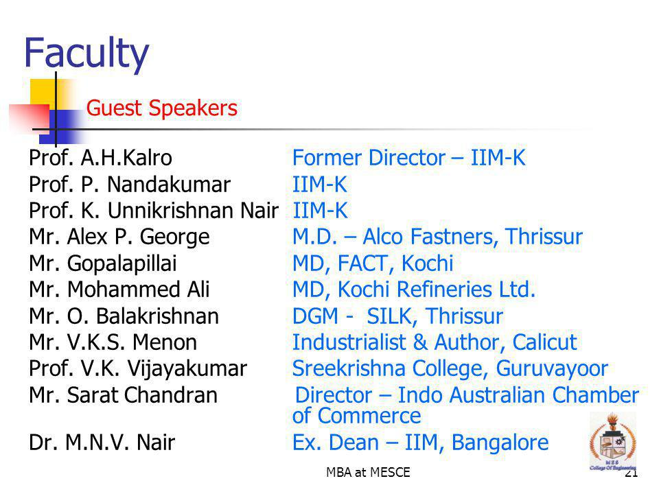 Faculty Guest Speakers