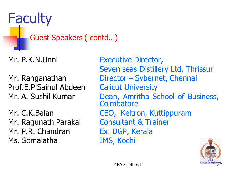 Faculty Guest Speakers ( contd…)