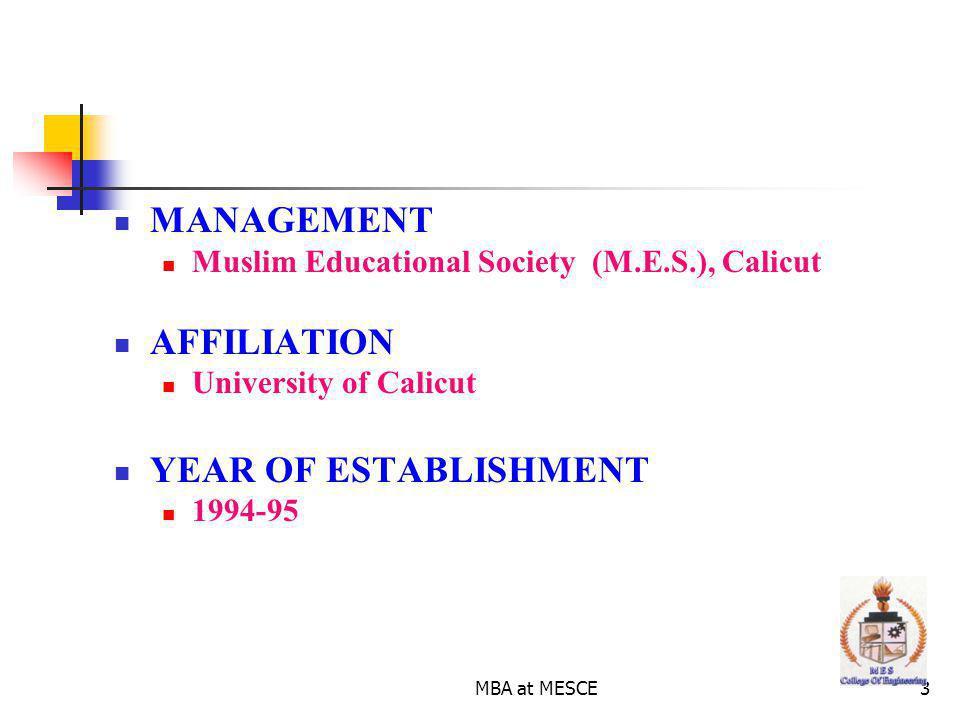 MANAGEMENT AFFILIATION YEAR OF ESTABLISHMENT