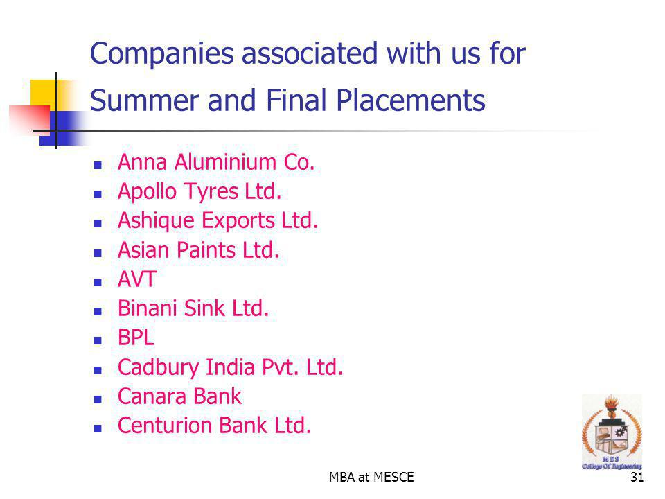 Companies associated with us for Summer and Final Placements