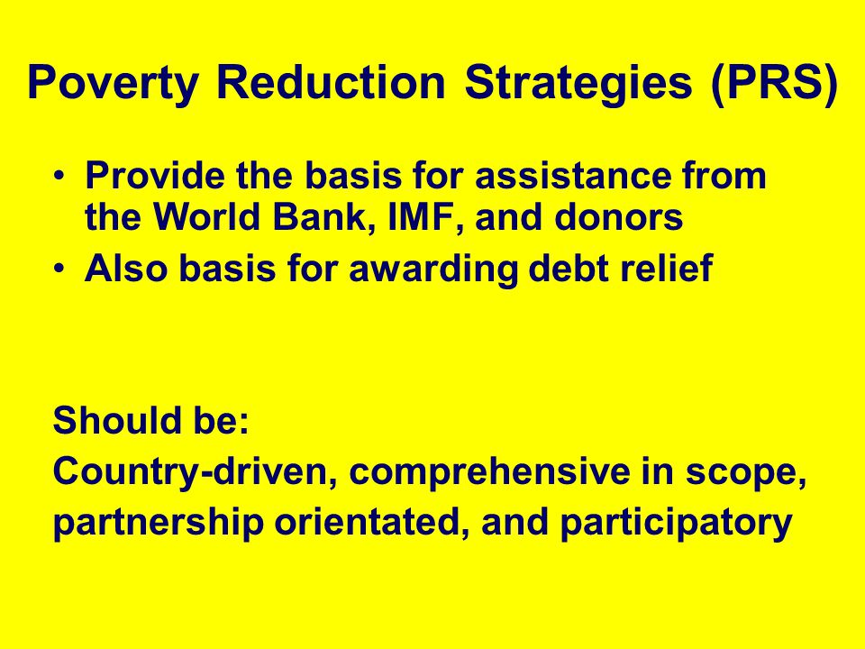 Poverty Reduction Strategies (PRS)