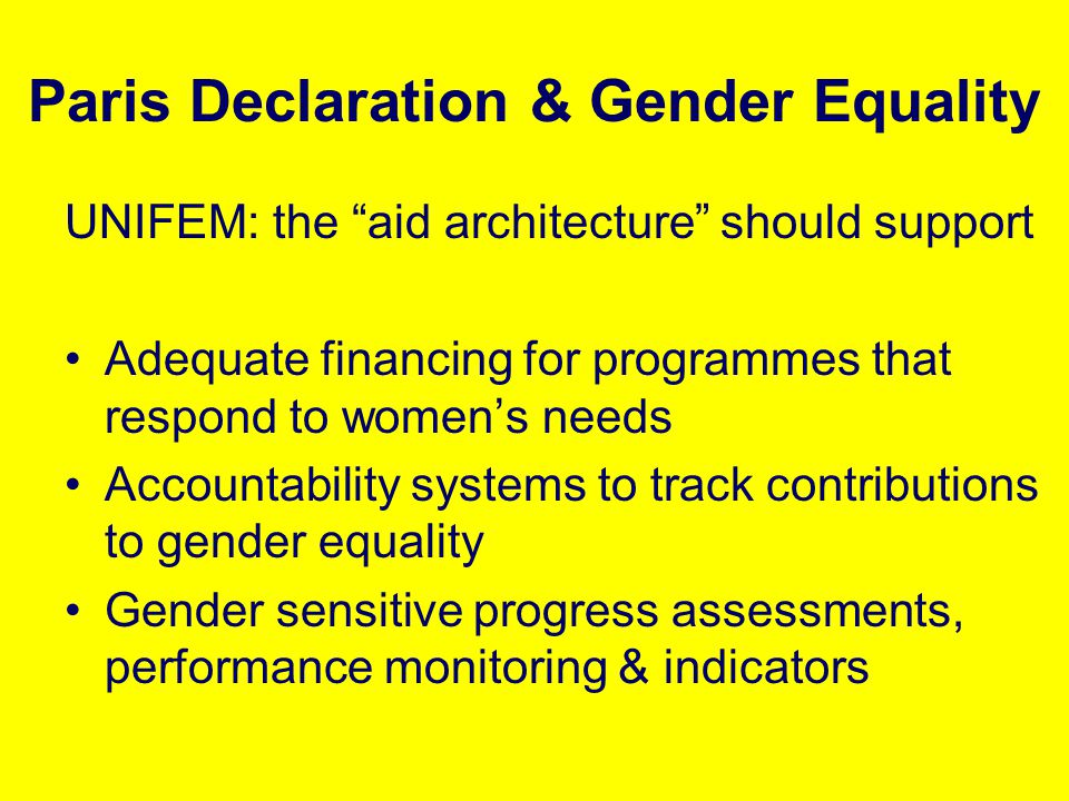 Paris Declaration & Gender Equality