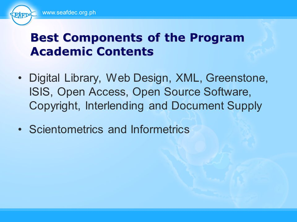 Best Components of the Program Academic Contents