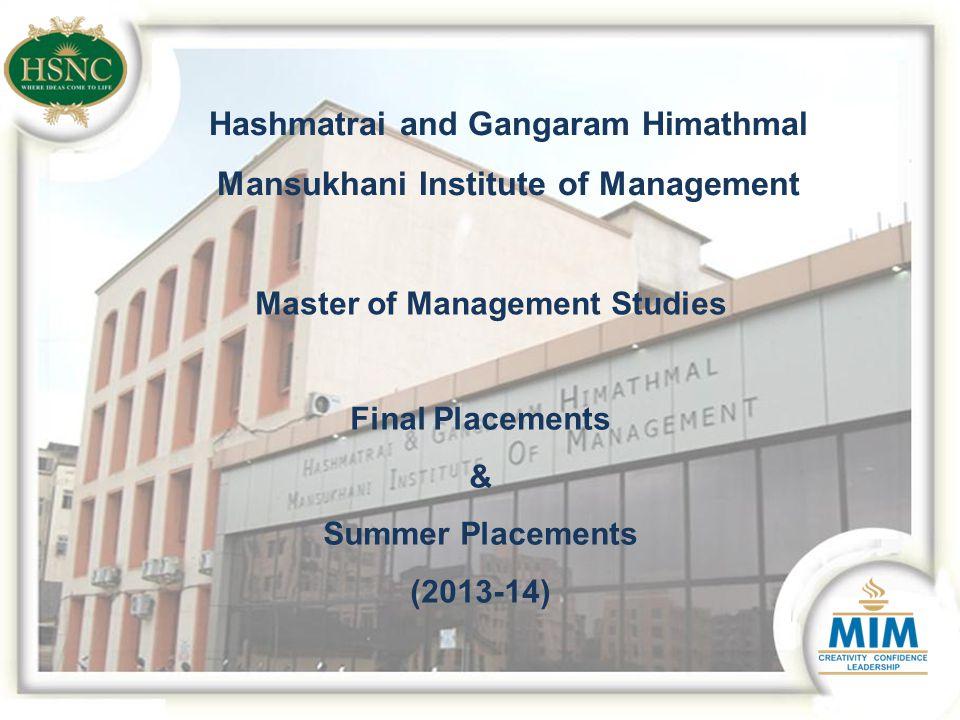 Hashmatrai and Gangaram Himathmal Mansukhani Institute of Management