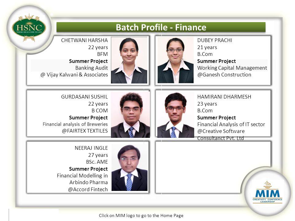 Batch Profile - Finance