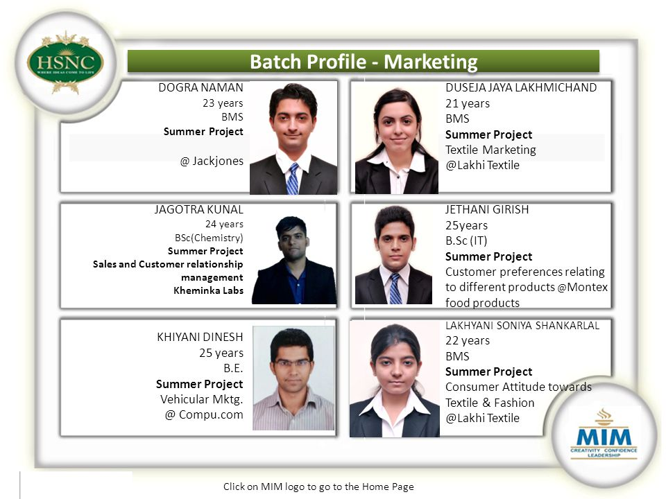 Batch Profile - Marketing