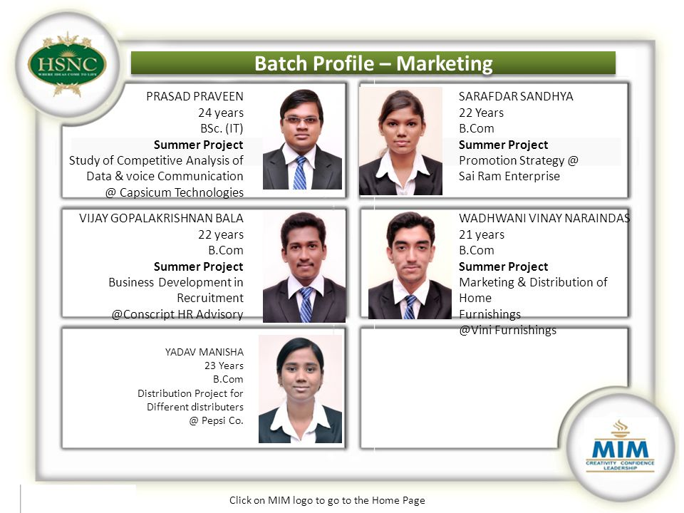Batch Profile – Marketing