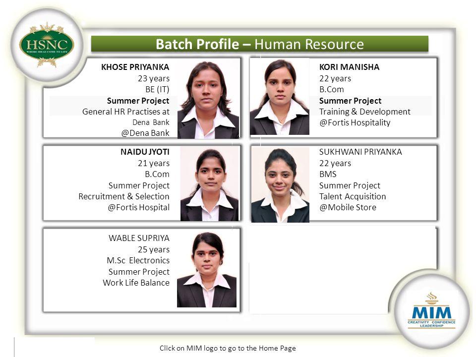 Batch Profile – Human Resource