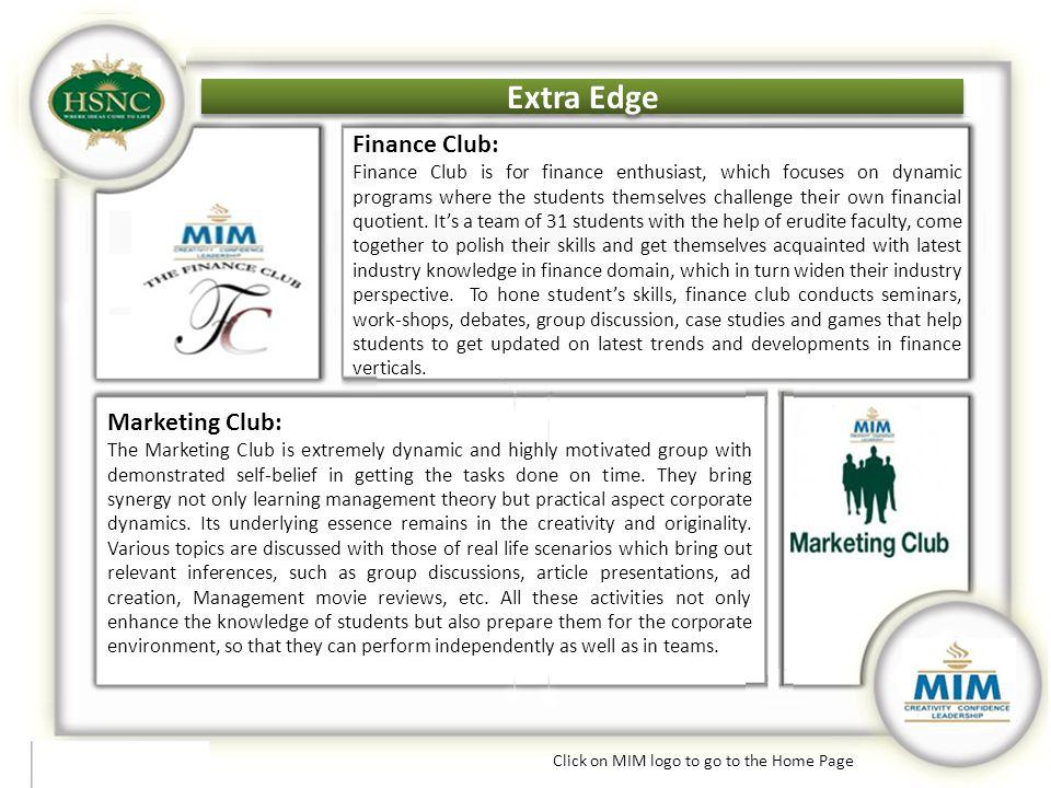 Extra Edge Finance Club: Marketing Club: