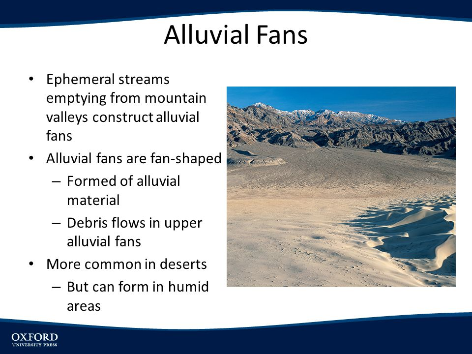 Alluvial Fans Ephemeral streams emptying from mountain valleys construct alluvial fans. Alluvial fans are fan-shaped.