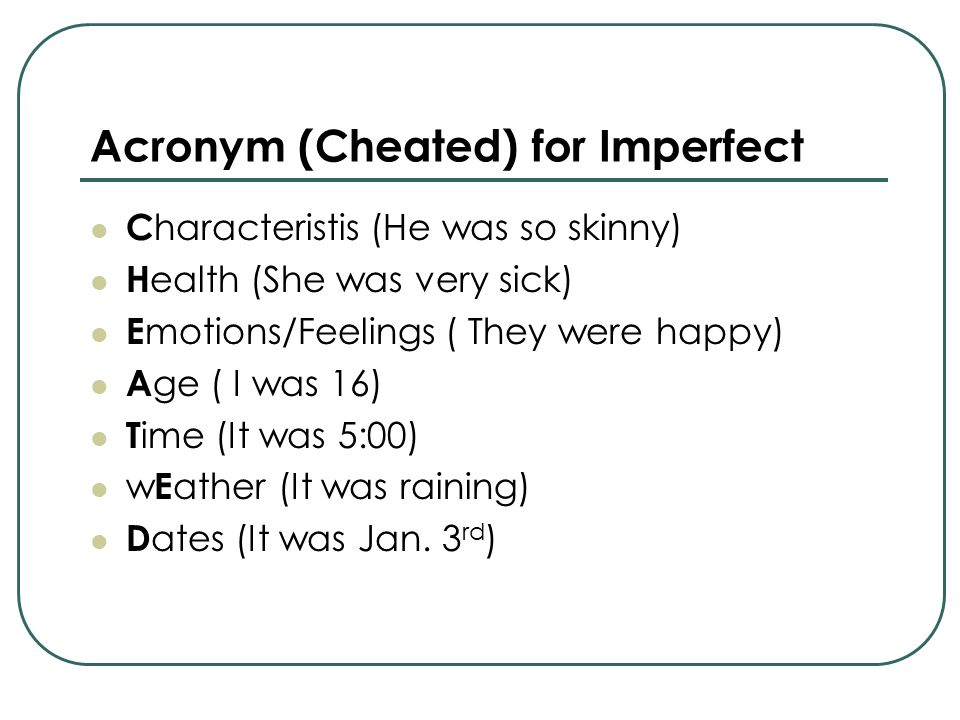 Acronym (Cheated) for Imperfect