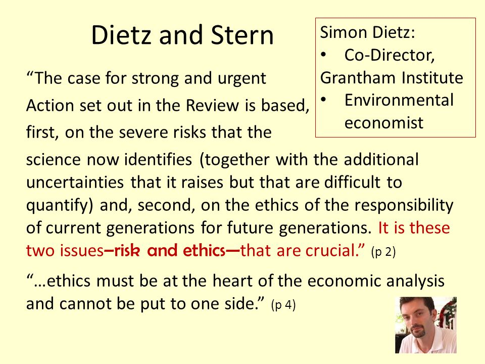 Dietz and Stern Simon Dietz: Co-Director, Grantham Institute