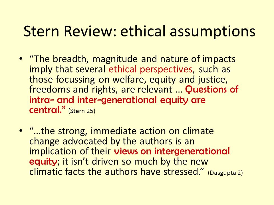 Stern Review: ethical assumptions
