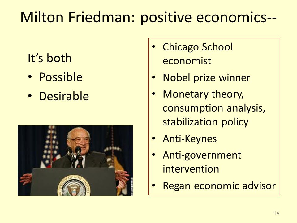 Milton Friedman: positive economics--