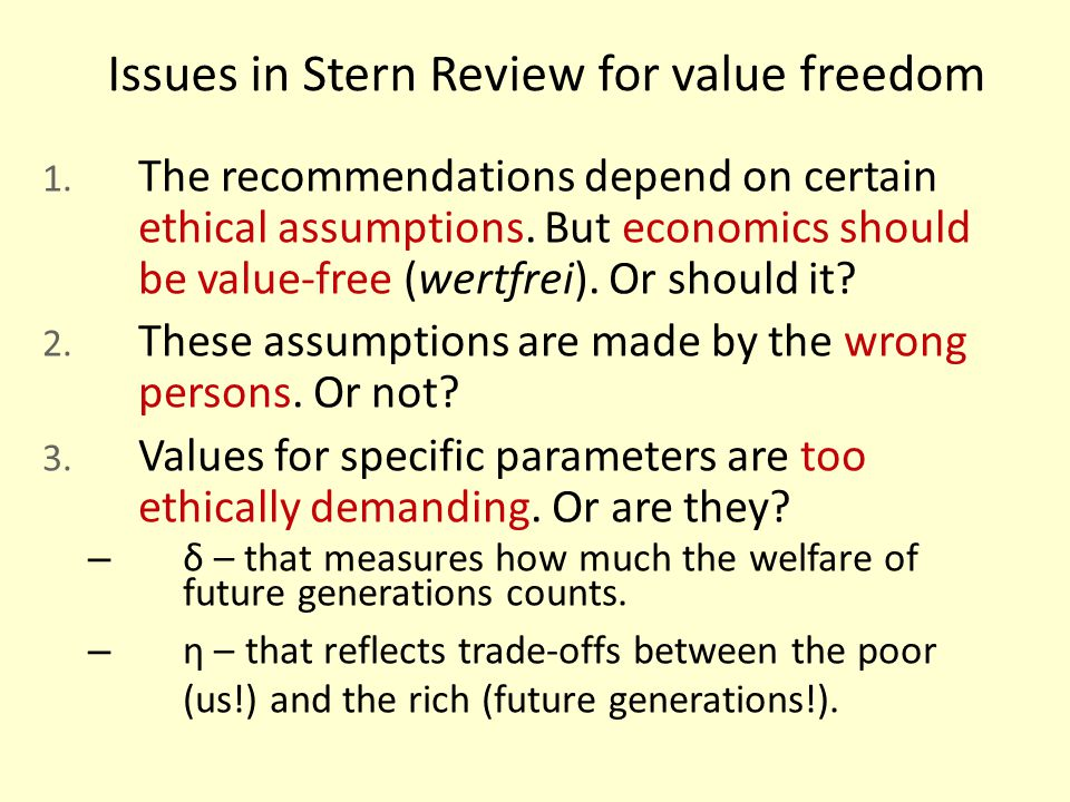 Issues in Stern Review for value freedom