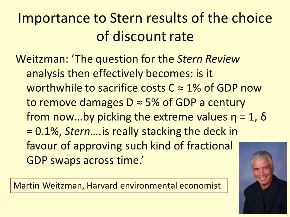 Importance to Stern results of the choice of discount rate