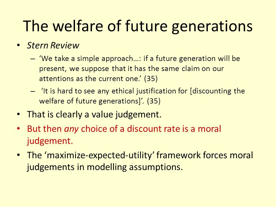 The welfare of future generations