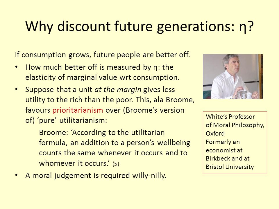 Why discount future generations: η