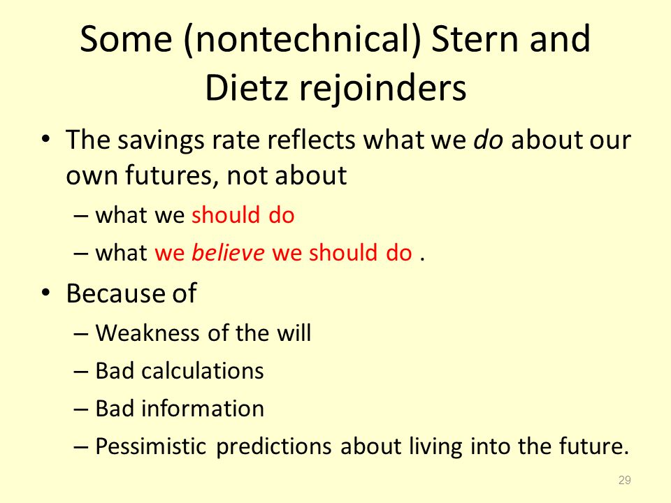 Some (nontechnical) Stern and Dietz rejoinders